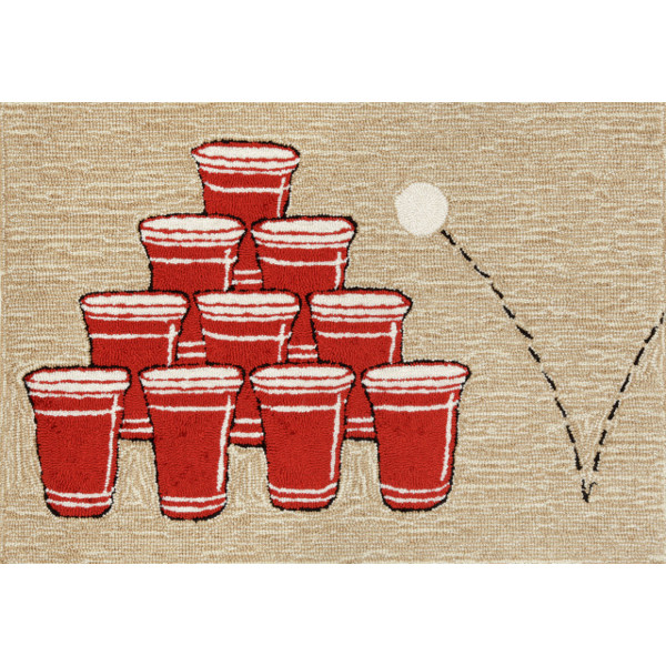 Red Beer Pong Rug