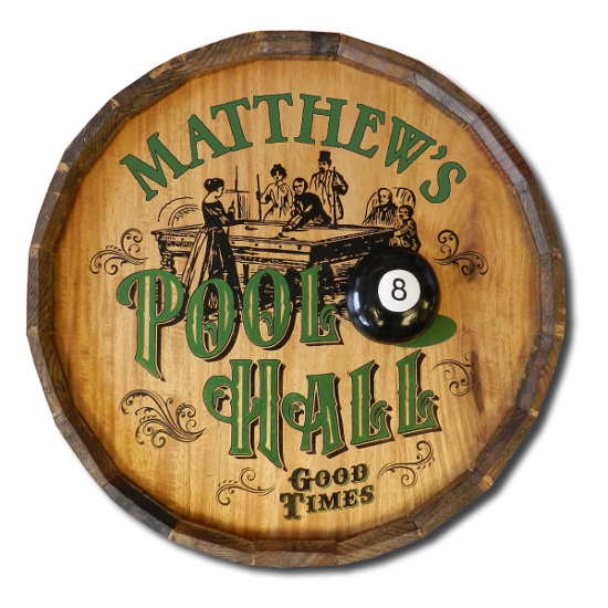 Personalized Pool Hall Quarter Barrel Sign
