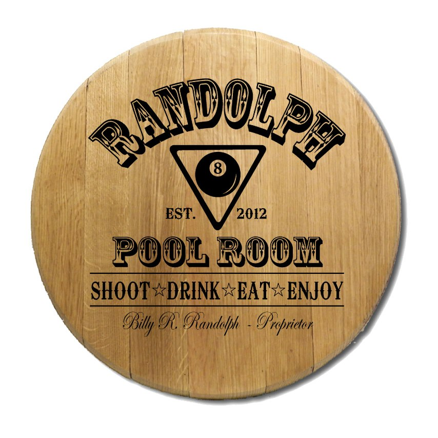 Pool Room Barrel Head Sign