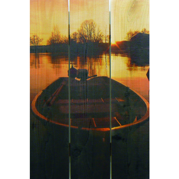 Wooden Boat Still at Sunset Wall Art