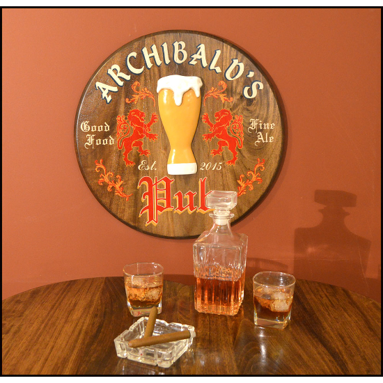 Personalized Pub Oak Barrel Head Sign