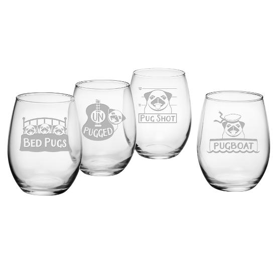 Pug Shots Stemless Wine Glasses (set of 4)