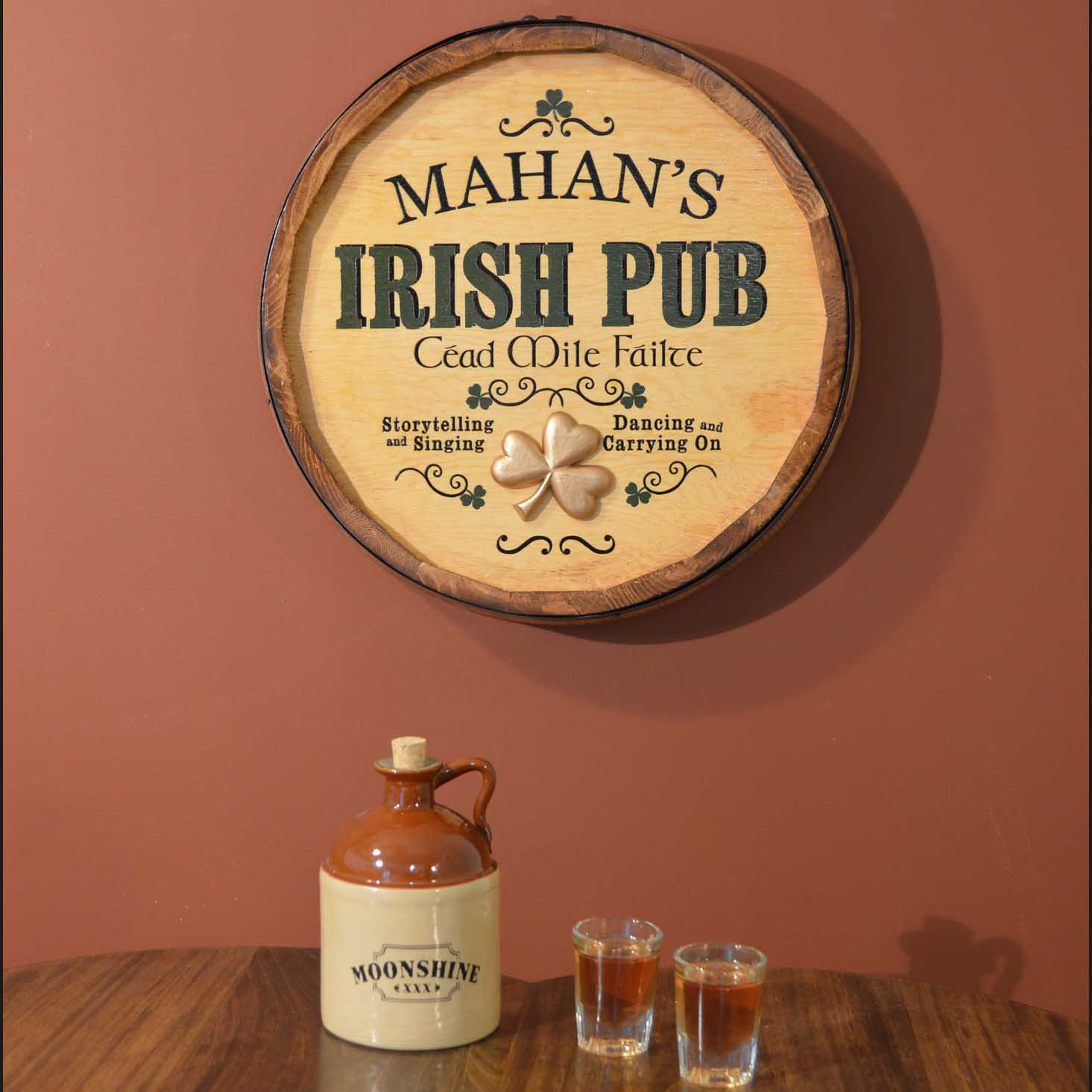 Personalized Irish Pub Quarter Barrel Sign