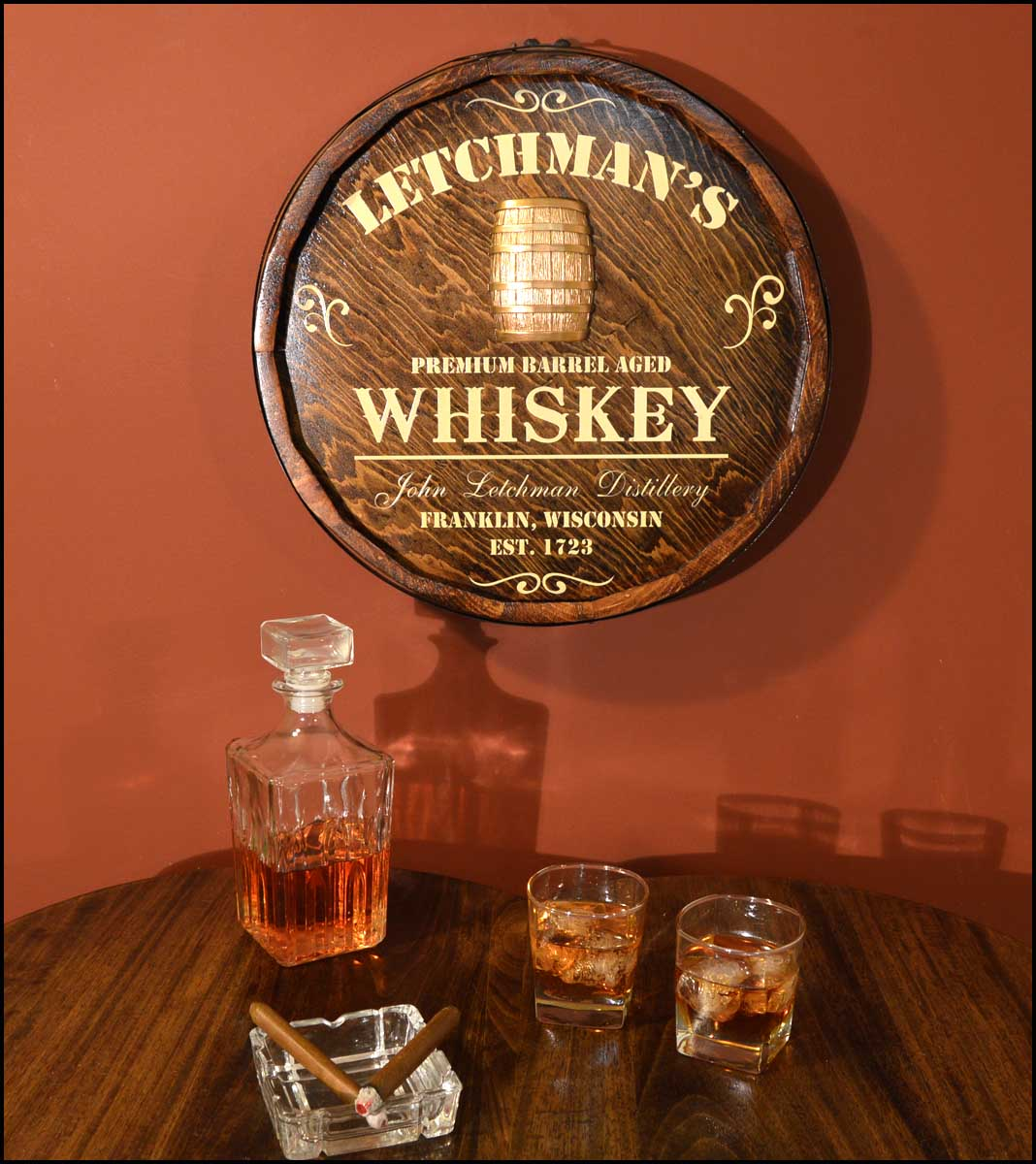 Personalized Whiskey Distillery Quarter Barrel Sign