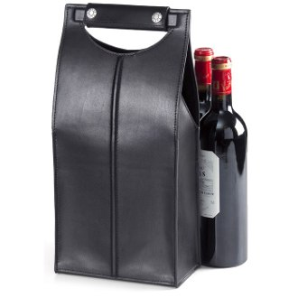 Quinley Two Bottle Leather Wine Carrier - Black