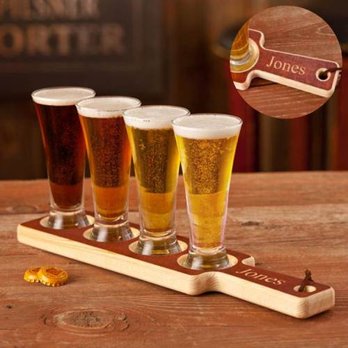 Beer Tasting Glasses with Personalized Serving Flight Paddle