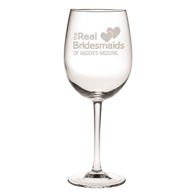 The Real Bridesmaids Etched Stemmed Wine Glasses (set of 4)