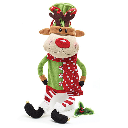 Smiling Reindeer with Dangling Legs Wine Bottle Bag