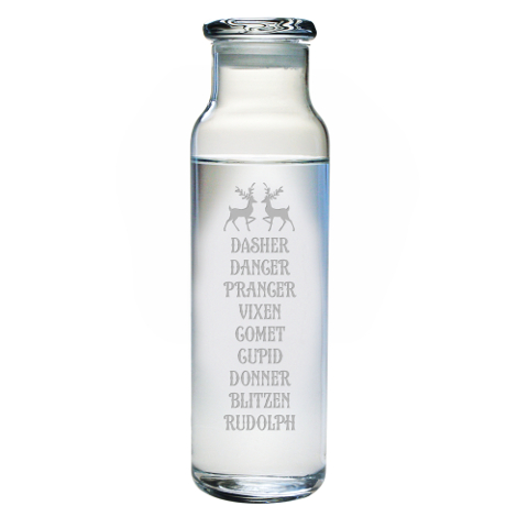 Reindeer Roll Call Glass Water Bottle with Lid