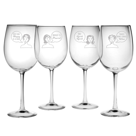 Retro Woman Wine Glasses (set of 4)