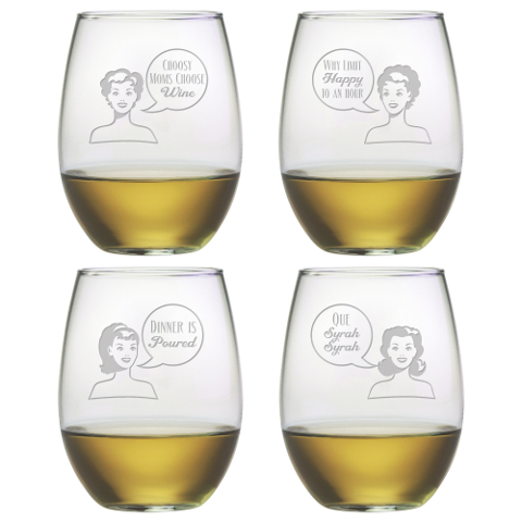 Retro Woman Stemless Wine Glasses (set of 4)