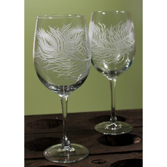 Peacock Large Wine Glasses (set of 4)