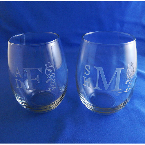 Monogrammed Roman Vine Stemless Wine Glasses (set of 2)
