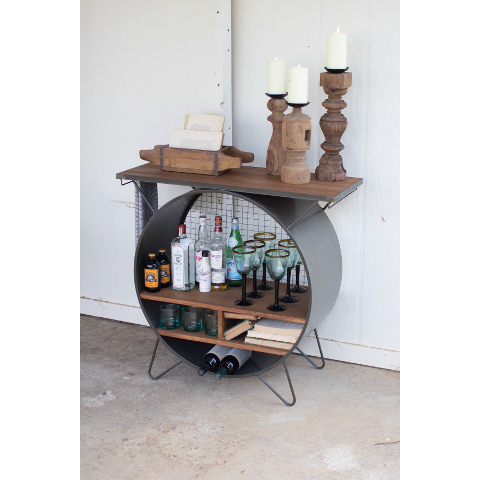 Round Metal Home Bar Cubby Console w/ Wood Top