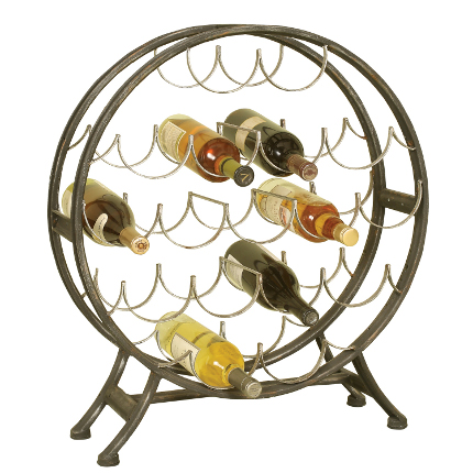 Round Metal Wine Rack - 17 Bottles