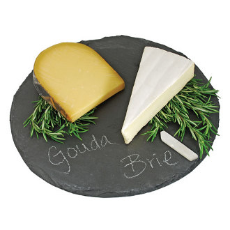 Round Slate Cheeseboard and Chalk Set