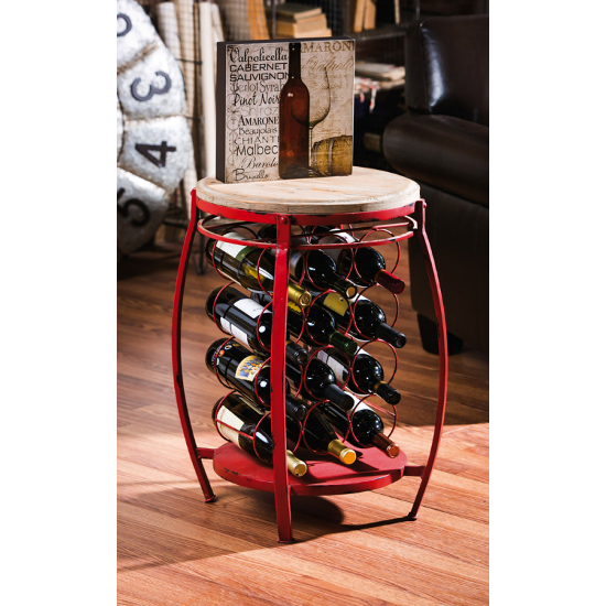 Orange Round Wine Holder Side Table