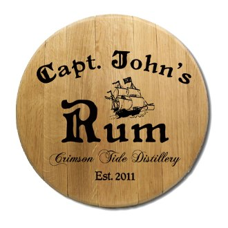 Captain's Rum Barrel Head Sign