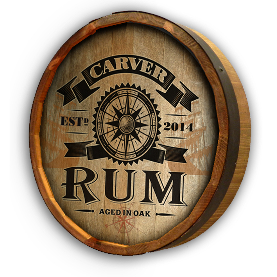 Personalized Rum Compass Quarter Barrel Sign