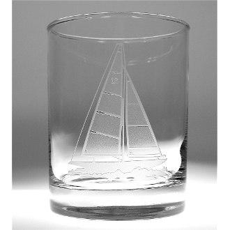 Sailboat On The Rocks Glasses 14 oz