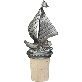 Sailboat Pewter Wine Bottle Stopper