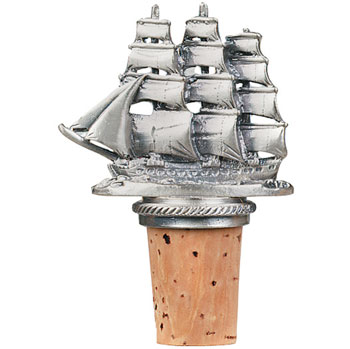 Sailing Ship Pewter Wine Bottle Stopper