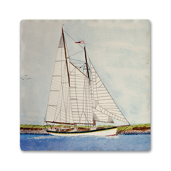Sailing Absorbent Ceramic Beverage Coaster