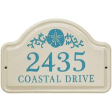 Sand Dollar Ceramic Arched Address Plaque
