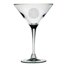 Sand Dollar Etched Martini Glass Set