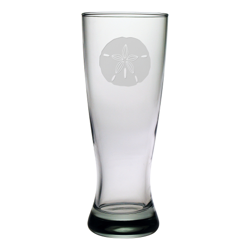 Sand Dollar Etched Grand Pilsner Glasses (set of 4)