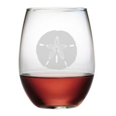 Sand Dollar Etched Stemless Wine Glass (set of 4)