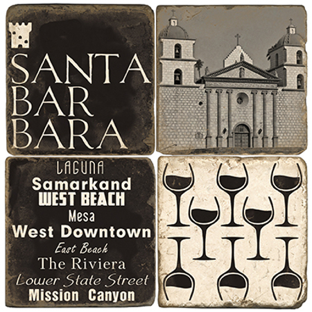 Santa Barbara Marble Beverage Coasters