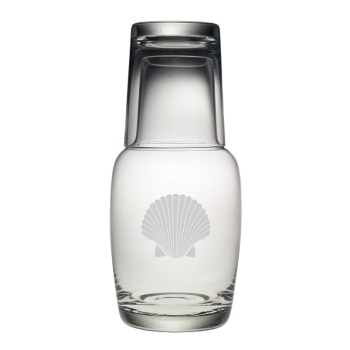 Scallop Shell Bedside Carafe and Glass 2-Piece Set