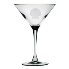 Scallop Shell Etched Martini Glass Set