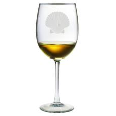 Scallop Shell Etched Stemmed Wine Glass Set