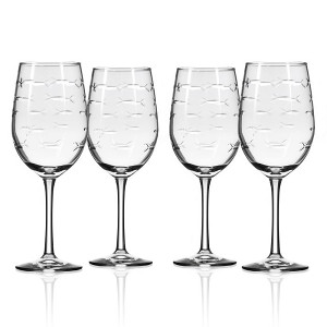 School of Fish White Wine Glasses Set of 4