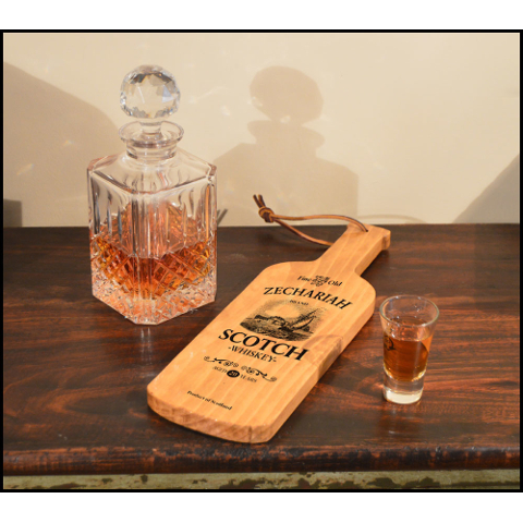 Personalized Scotch Ship Bottle Shaped Server