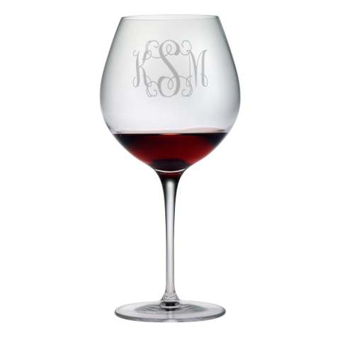 Elegant Scroll Monogram Burgundy Glasses (set of 4)