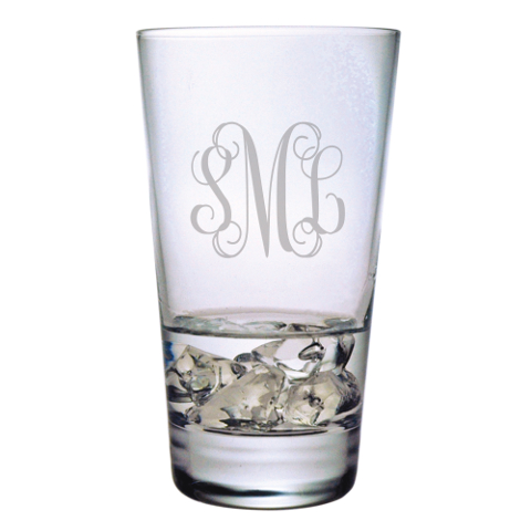 Elegant Scroll Monogram Highball Glasses (set of 4)