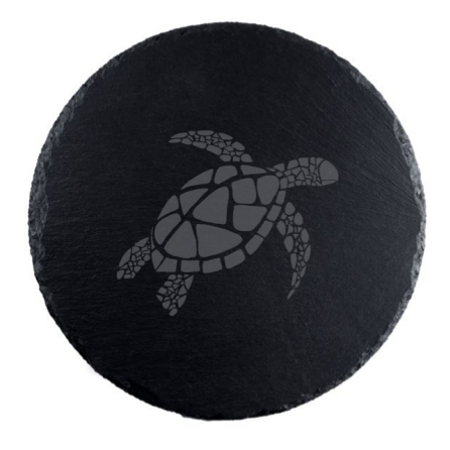 Sea Turtle Round Slate Serving Board