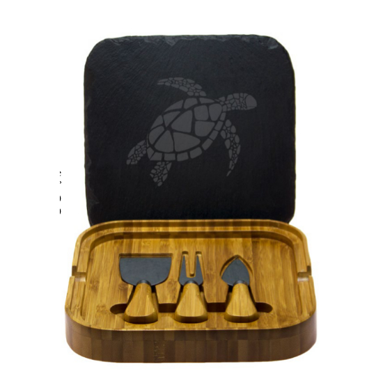 Sea Turtle Square Cheese Set with Tools