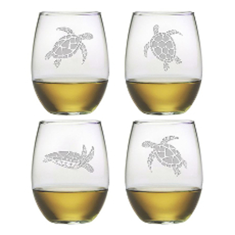 Sea Turtles Stemless Wine Glasses (set of 4)