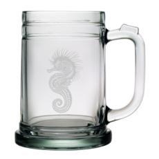 Seahorse Etched Tankard Beer Mug Set