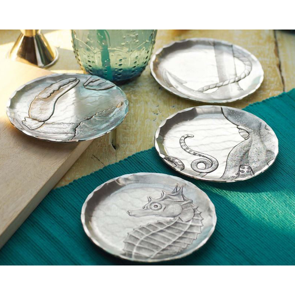 Coastal Wine Coasters with Caddy (set of 4)