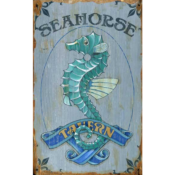 Personalized Vintage Seahorse Tavern Sign