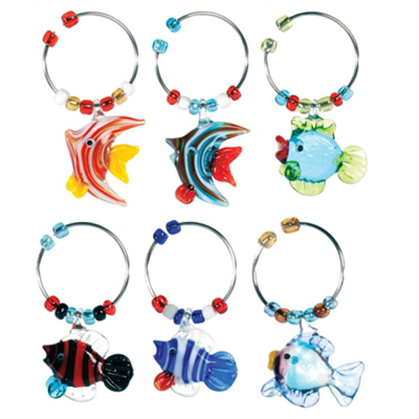 Sea Life Wine Stem Dangles (Set of 6)