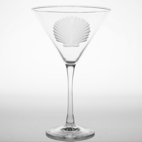 Engraved Seashell Martini Glasses (set of 4)