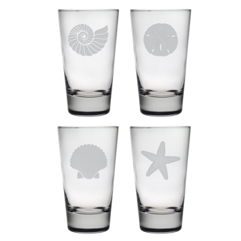 Seashore Etched High Ball Glasses (set of 4)