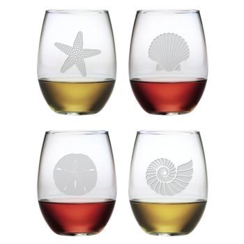 Seashore Stemless Wine Glasses (set of 4)