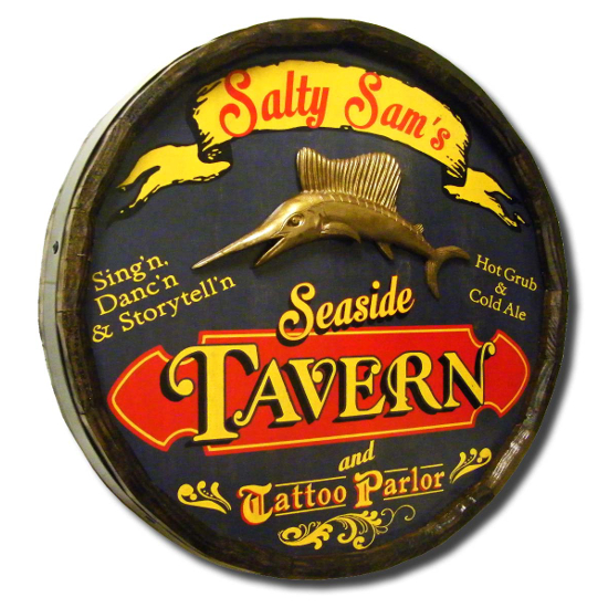 Seaside Tavern Personalized Quarter Barrel Sign